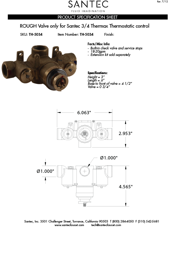 Valve Only For Santec 3 4 Quot Thermax Thermostatic Control