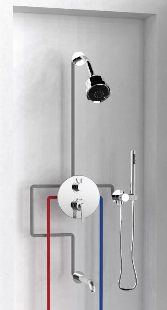 Genial 1/2u201d Thermostatic Valve With Volume Control U0026 3 Way Diverter